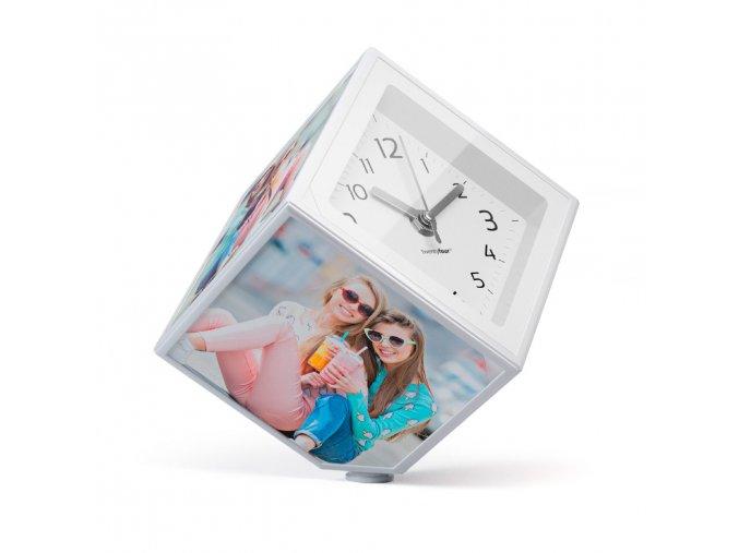 23288 rotujici fotokostka s hodinami balvi photo clock 26242 10x10cm
