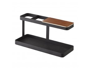 28754 multifunkcni stojanek s drevenou polickou yamazaki tower 2300 desk bar cerny