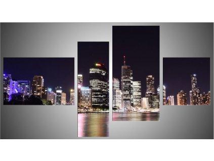 Čtyřdílný fotoobraz  o velikosti 110x60 cm - noční město
