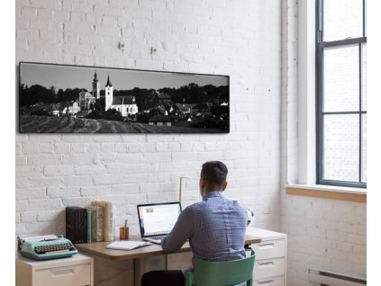 Panoramatický fotoobraz na plátně, černobílý - NaPlatne.cz