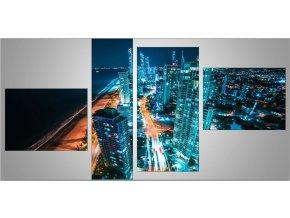 Čtyřdílný fotobraz na plátně o rozměrech 110x68 cm - noční přístav