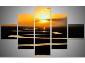 Pětidílný fotoobraz 150x95 západ slunce řeka