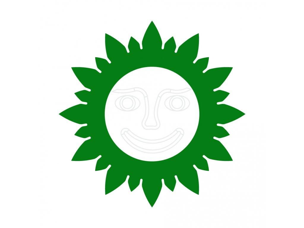 Slunečnice na plot - zelená s bílým středem s tváří