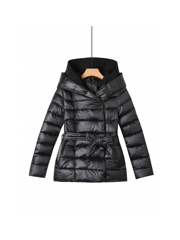 Dámský prošívaný kabát WMA-2350 se softshellovou kapucí