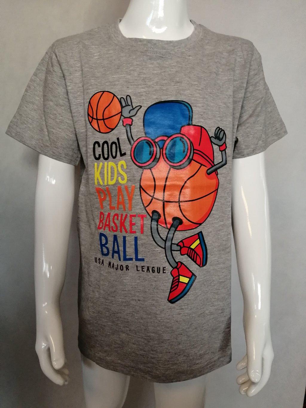 Chlapecké triko BPO-P2128 Basketball - šedá .
