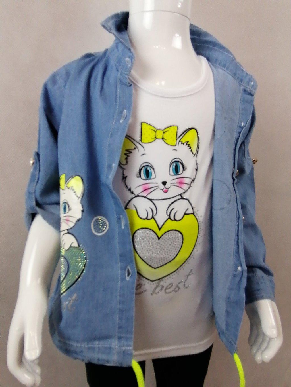 Dívčí set - košile + tričko G-46112 s kočičkou a srdcem