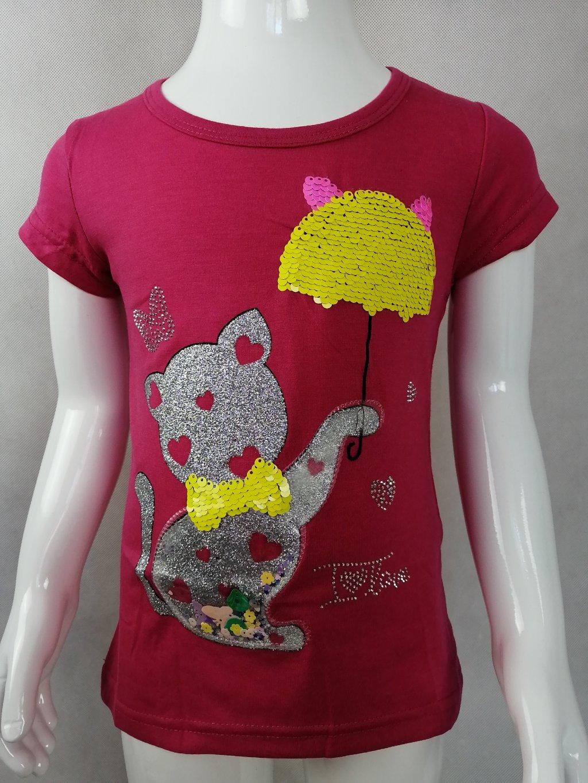 Dívčí tričko G 52635 se třpytivou kočičkou