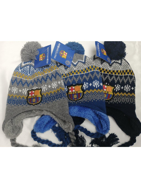 Zimní čepice 3973 FCBarcelona na provázku