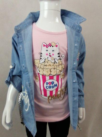 Dívčí set - košile + tričko G-46110 Kočka POPCORN