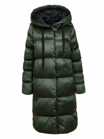 Dámský oboustranný péřový kabát WMA-1761 - tmavě zelená / černá