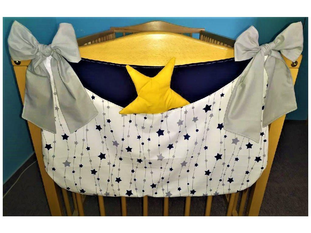 Kapsář hvězdičky a kuličky na provázku - šedá, tm. modrá