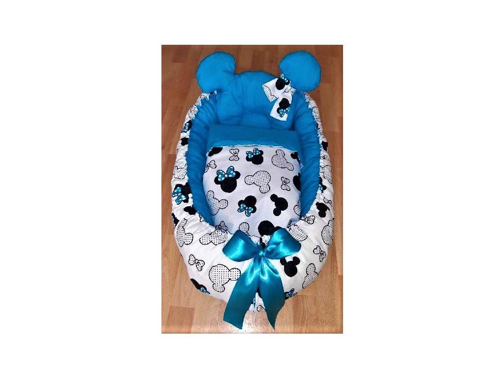 Hnízdečko pro miminko Minnie s modrou mašličkou - uni modrá - 3dílné