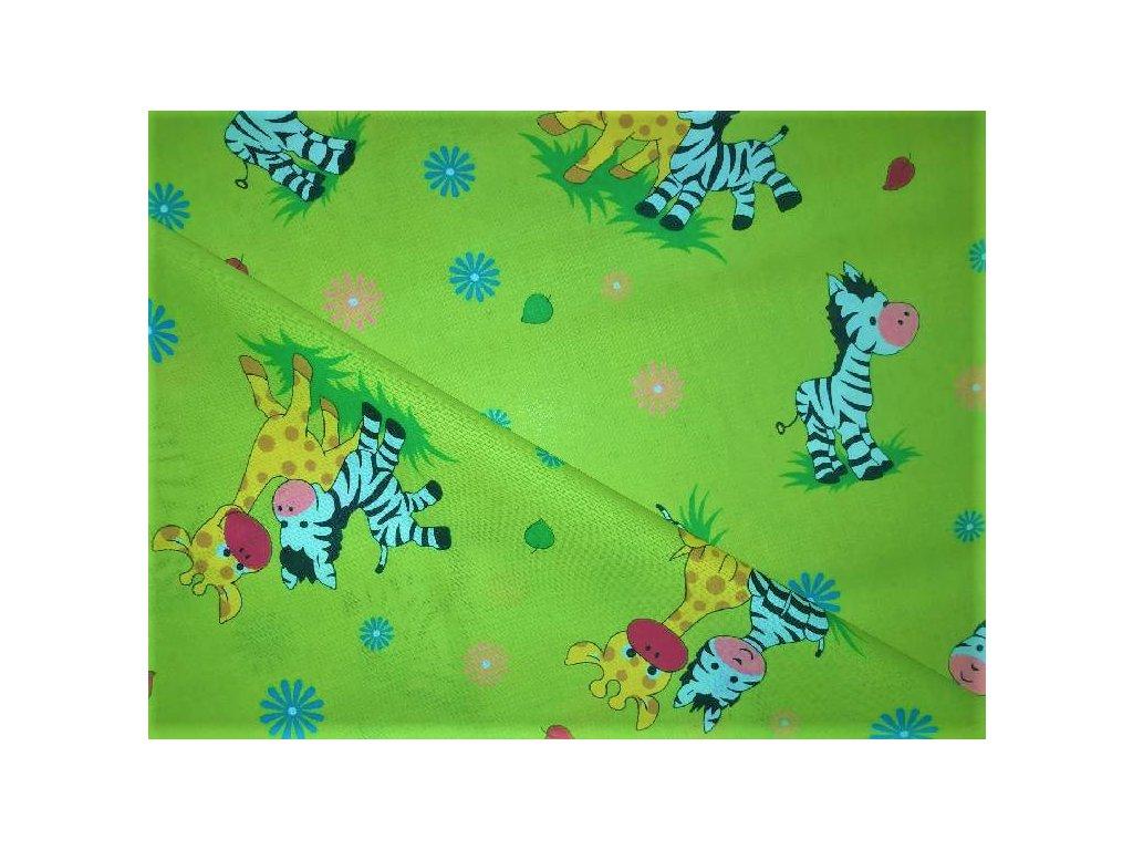 metraz bavlnene platno zebry zirafky zelene