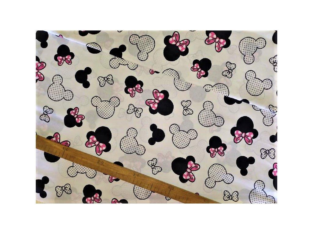 metraz bavlnene platno Minnie ruzova