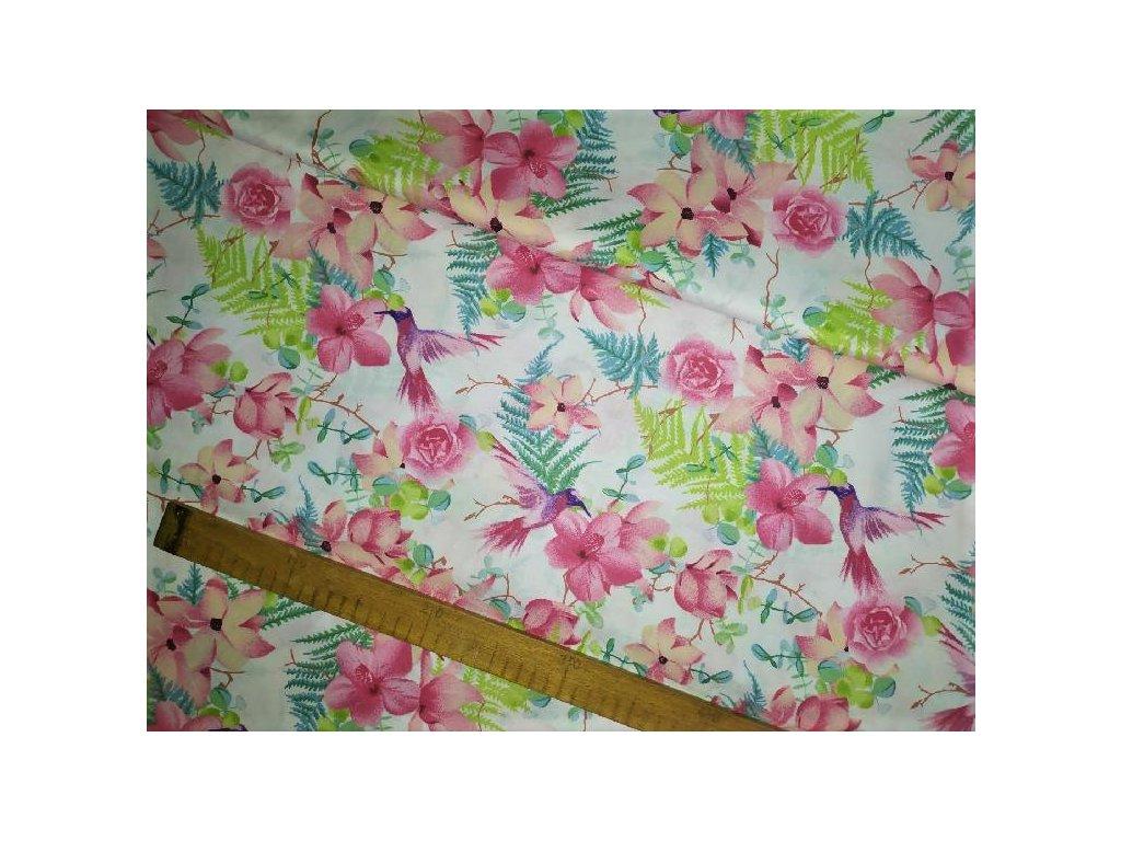 metraz bavlnene platno ruzove kvety