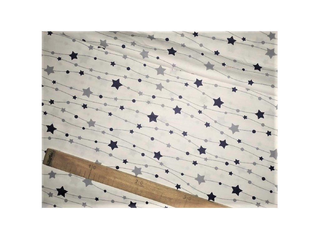 metraz bavlnene platno tm. modre hvezdicky na bile