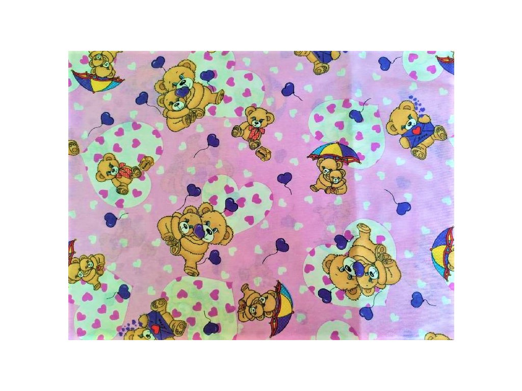metraz bavlnene platno medvídci fialové