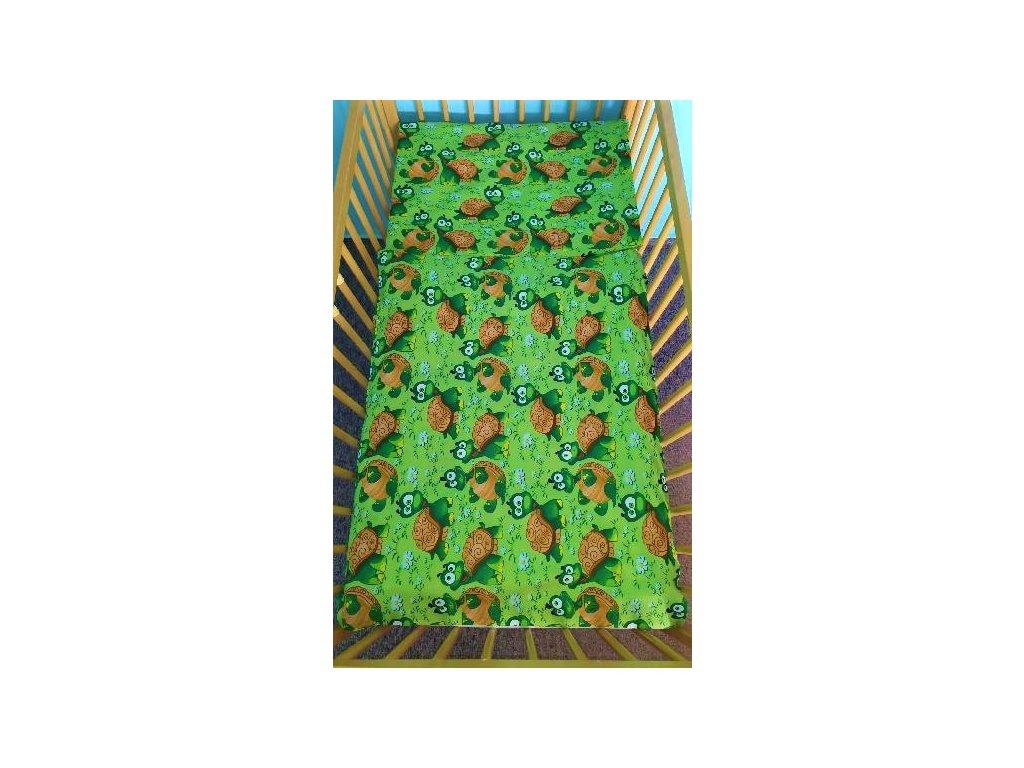 povlečení do postýlky želvičky na zelené