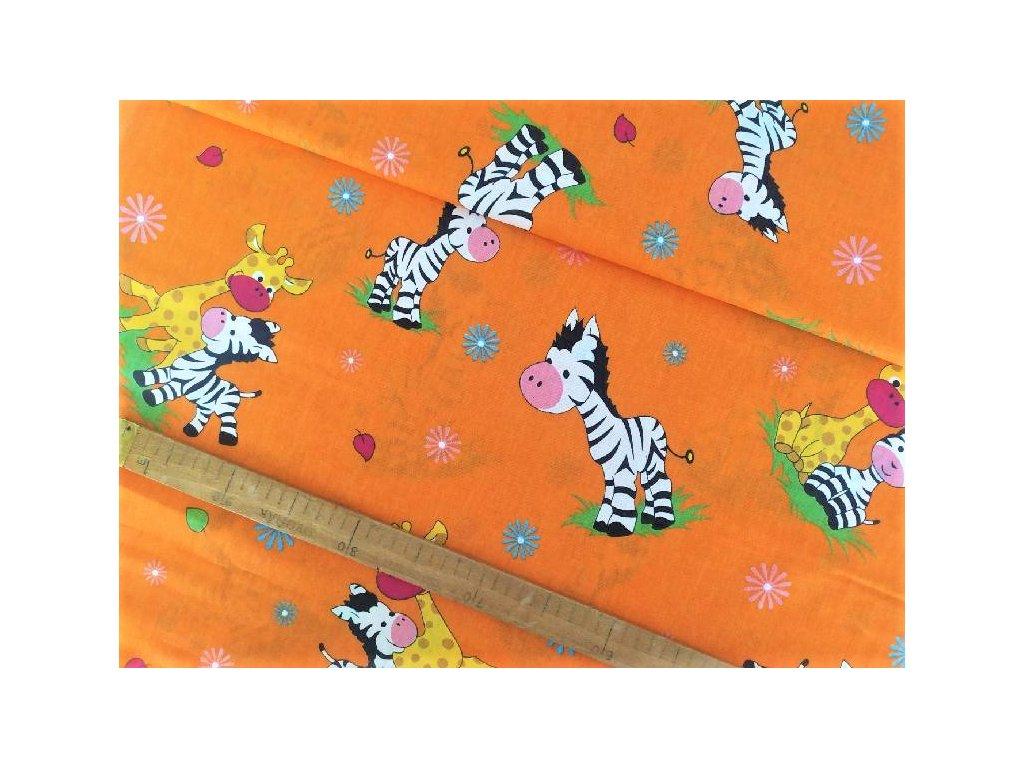 metraz bavlnene platno zebry a zirafky oranžová