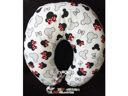 Kojící polštář Minnie s červenou mašličkou - bílý