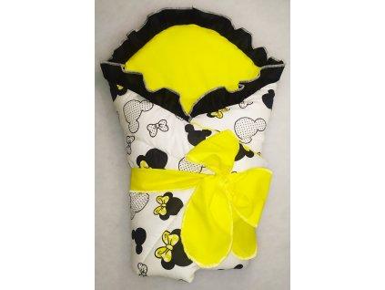 Rychlozavinovačka Minnie se žlutou mašličkou + volánek a velká mašle