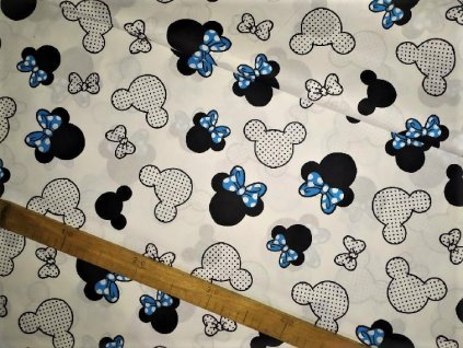 metraz bavlnene platno Minnie s modrou maslickou