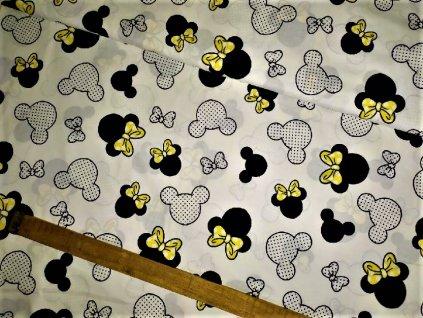 metraz bavlnene platno Minnie se zlutou maslickou