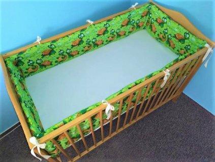 Ochranný mantinel do postýlky želvičky na zelené 360x30 cm