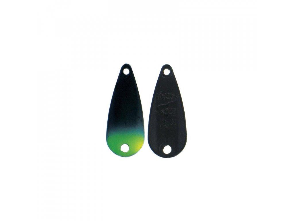 wolframová plandavka River2Sea TT-Spoon - 0,8g/16mm (Black/Yellow Tip)