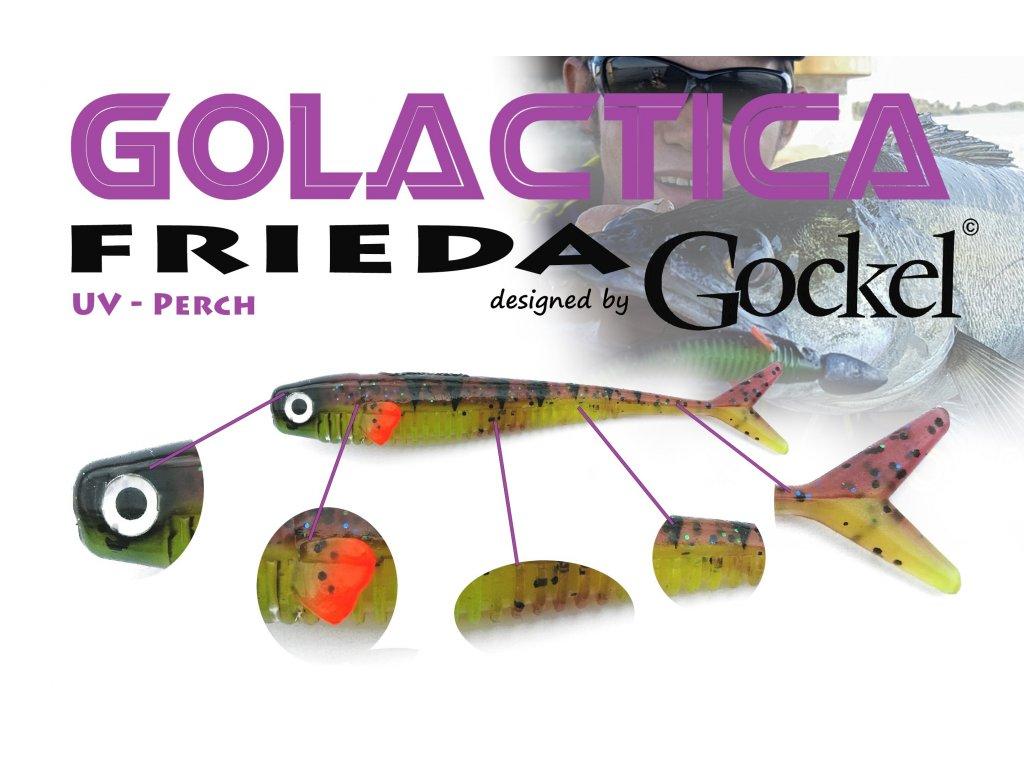 Gumová nástraha - FRIEDA Golactica (UV Perch) – 110mm