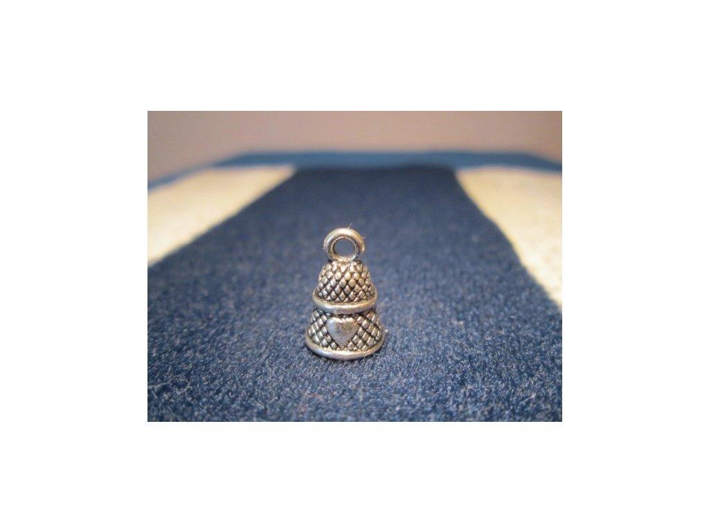 Sběratelský náprstek - 3D mini - bílý kov, se srdíčkem, jako přívěšek - výška s očkem 1,4 cm