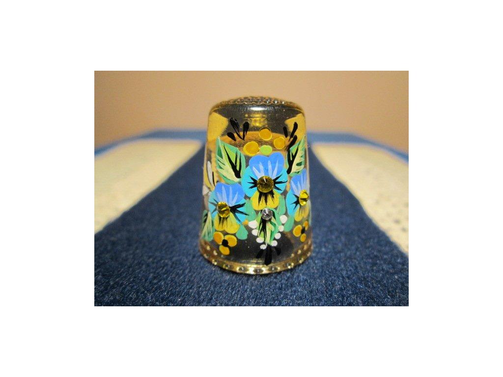 Sběratelský náprstek - 3D Skleněný žlutý, s kamínky, ruční malba