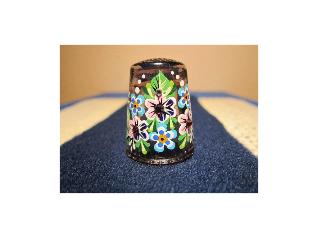Sběratelský náprstek - 3D Skleněný světlefialový, s kamínky, ruční malba