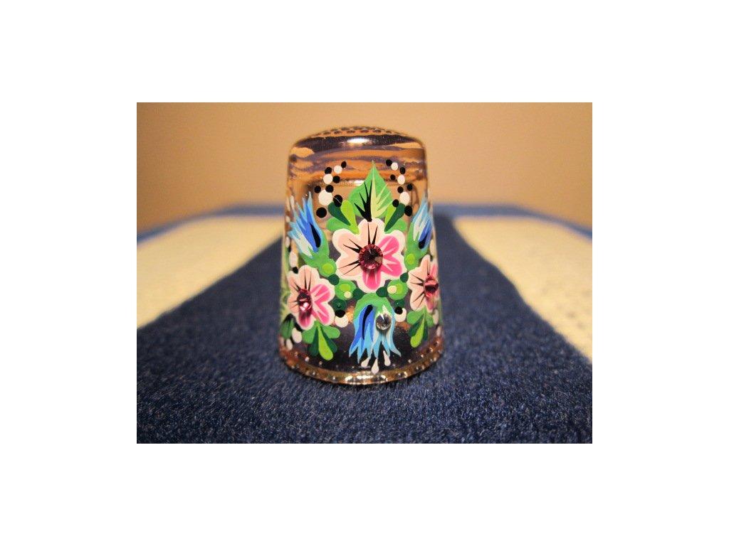 Sběratelský náprstek - 3D Skleněný růžový, s kamínky, ruční malba
