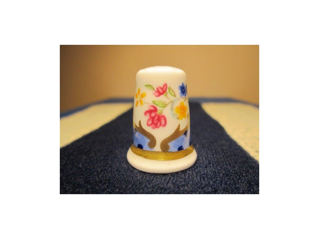 Sběratelský náprstek - Royal Worcester England - květinový ornament 1