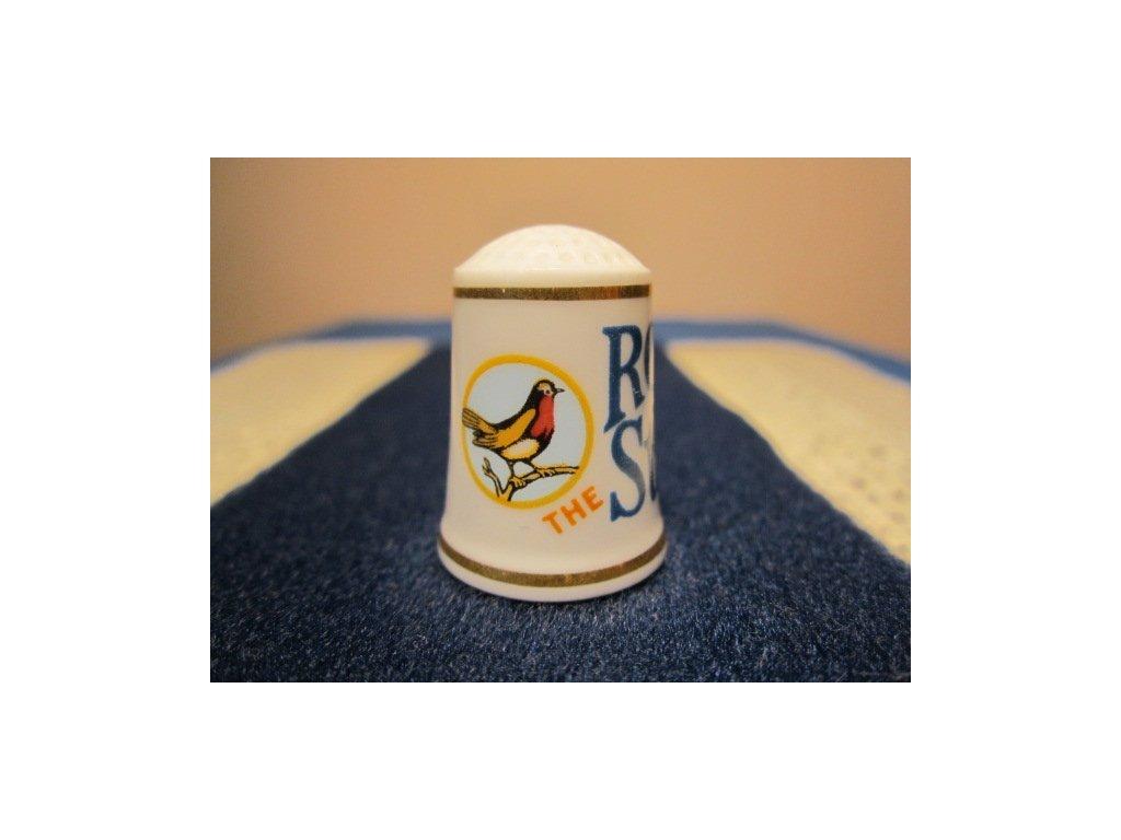 Sběratelský náprstek - Franklin Porcelain USA - Reklama 1982, Robin Starch - škrob na prádlo