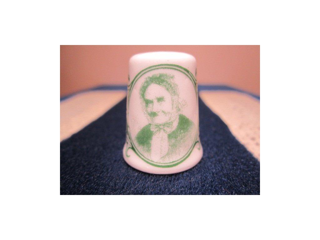 Sběratelský náprstek - Fingerhutová Anna, maminka Vojtěcha Náprstka, zelený