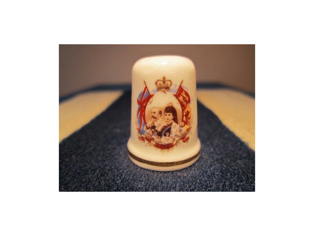 Sběratelský náprstek - Král Edward VII. a královna Alexandra, St. George