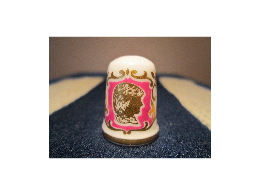 Sběratelský náprstek - Caverswall England - Princezna Diana - maminka narozeného Prince Williama