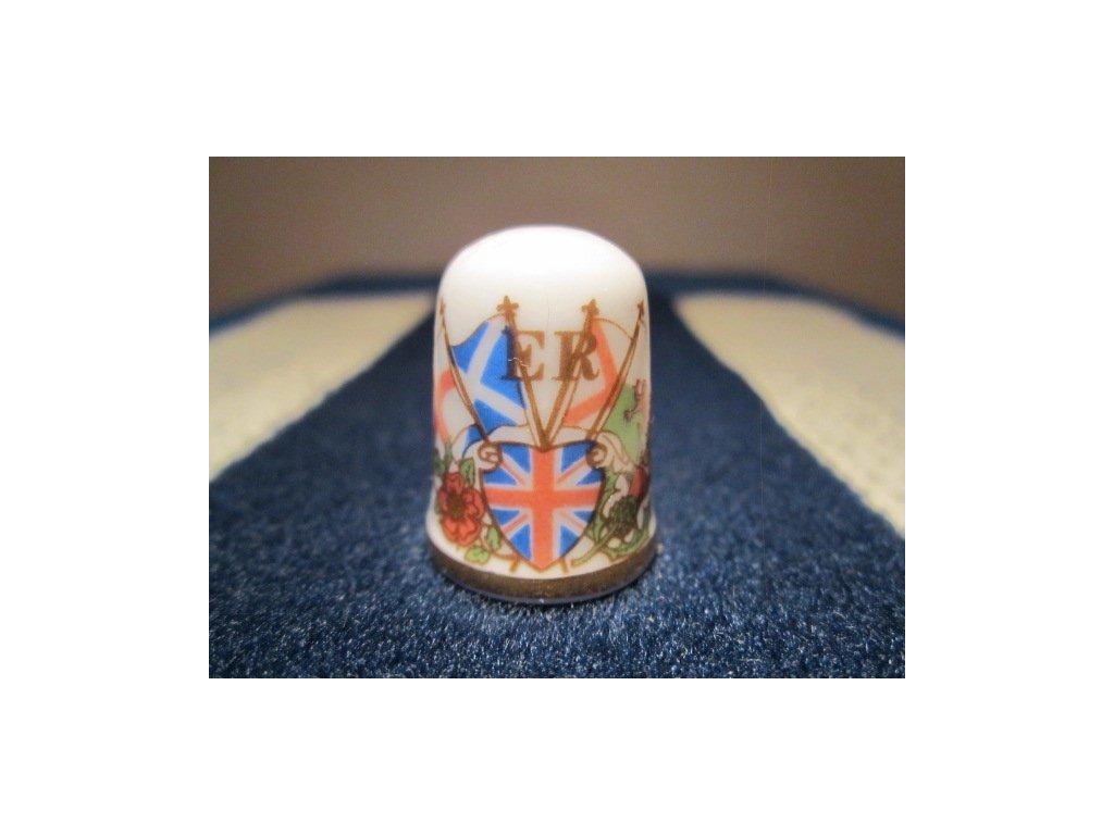 Sběratelský náprstek - Caverswall England - Královna Alžběta II. - 30. výročí korunovace, s vlajkami a symboly Anglie