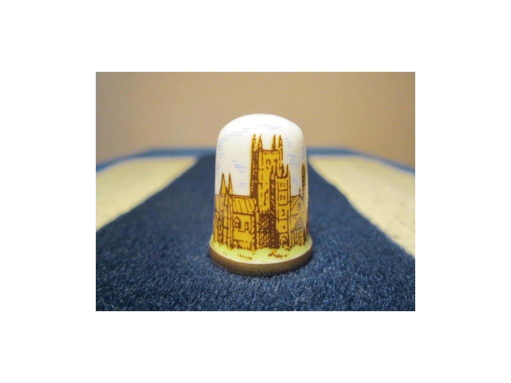 Sběratelský náprstek - Caverswall England - Caverswall England - Anglie, Canterbury Cathedral, se znakem a podpisem autora