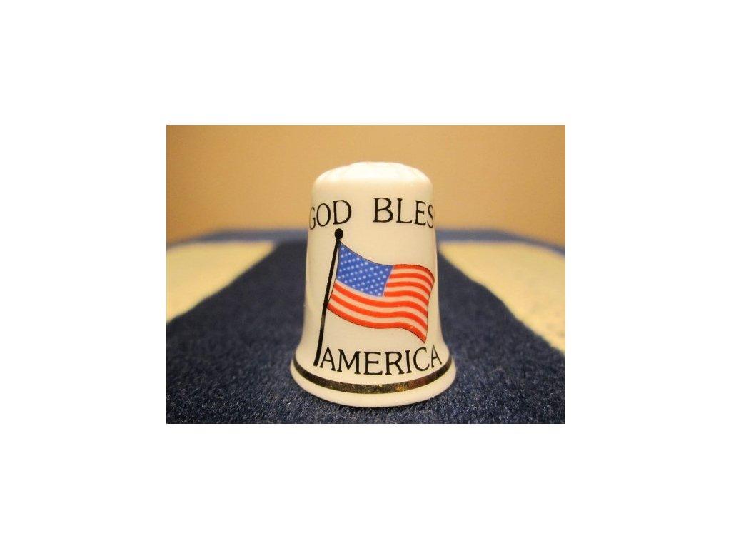Sběratelský náprstek - USA - Bůh žehnej Americe, s vlajkou, Cottage Thimbles