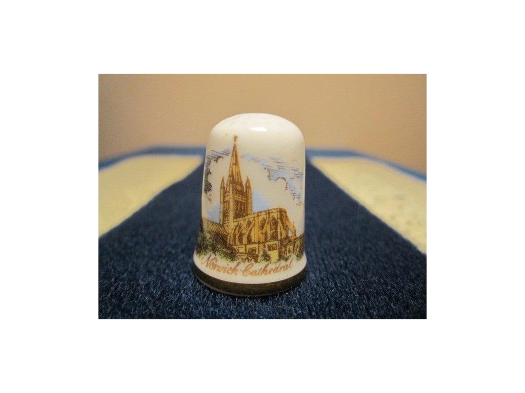 Sběratelský náprstek - Caverswall England - Anglie - Norwich Cathedral, podpis autora