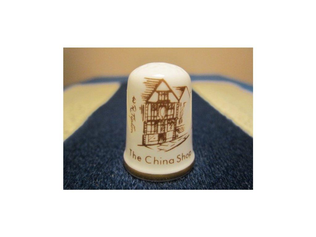 Sběratelský náprstek - Caverswall England - Anglie, Dartmouth Devon, prodejna porcelánu, podpis autora