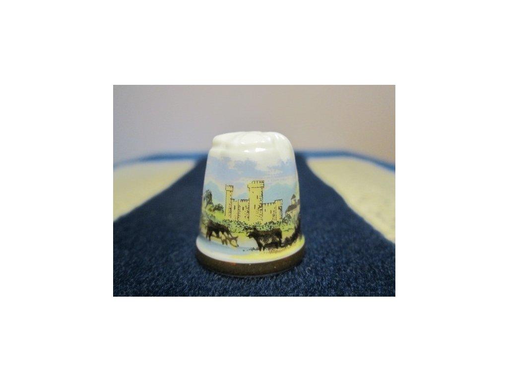 Sběratelský náprstek - TCC Longton Hall England - Rustic Castle 1986