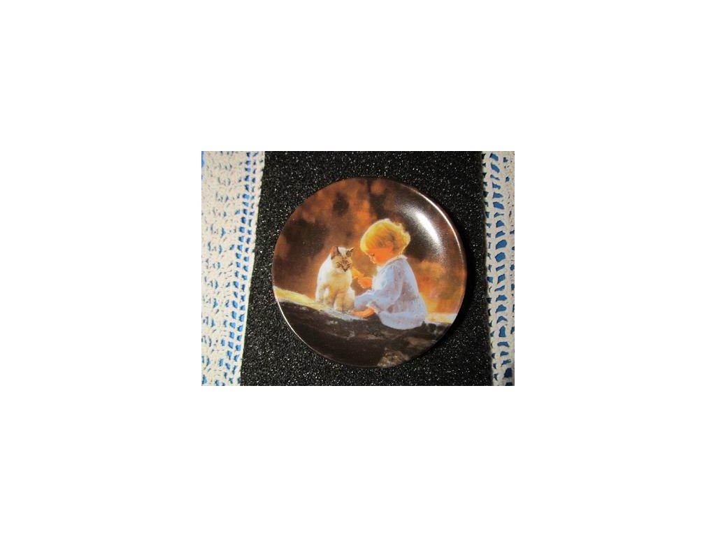 Sběratelský talířek - Donald Zolan USA - Just We Two (jen my dva), 1992 - talířek 8 cm, číslovaný