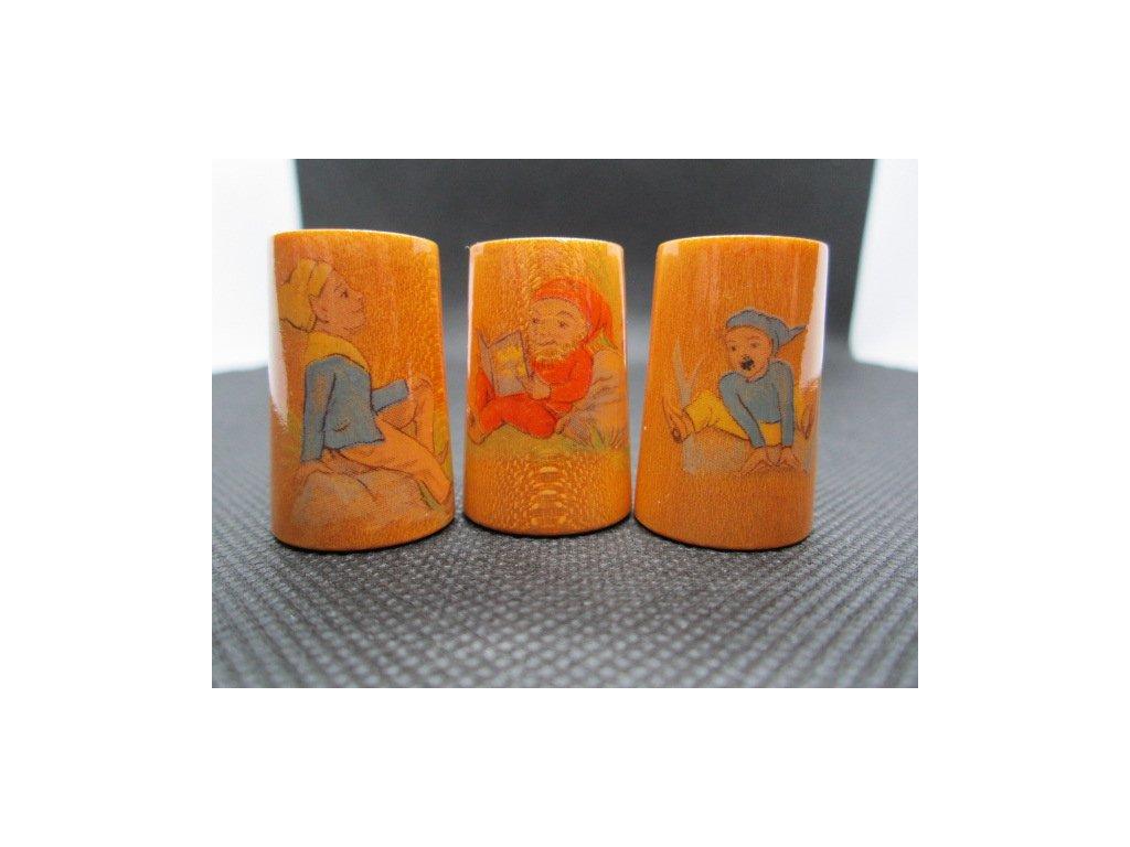 Sběratelský náprstek - Sada 3 ks - trpaslíci, dřevěné, javor