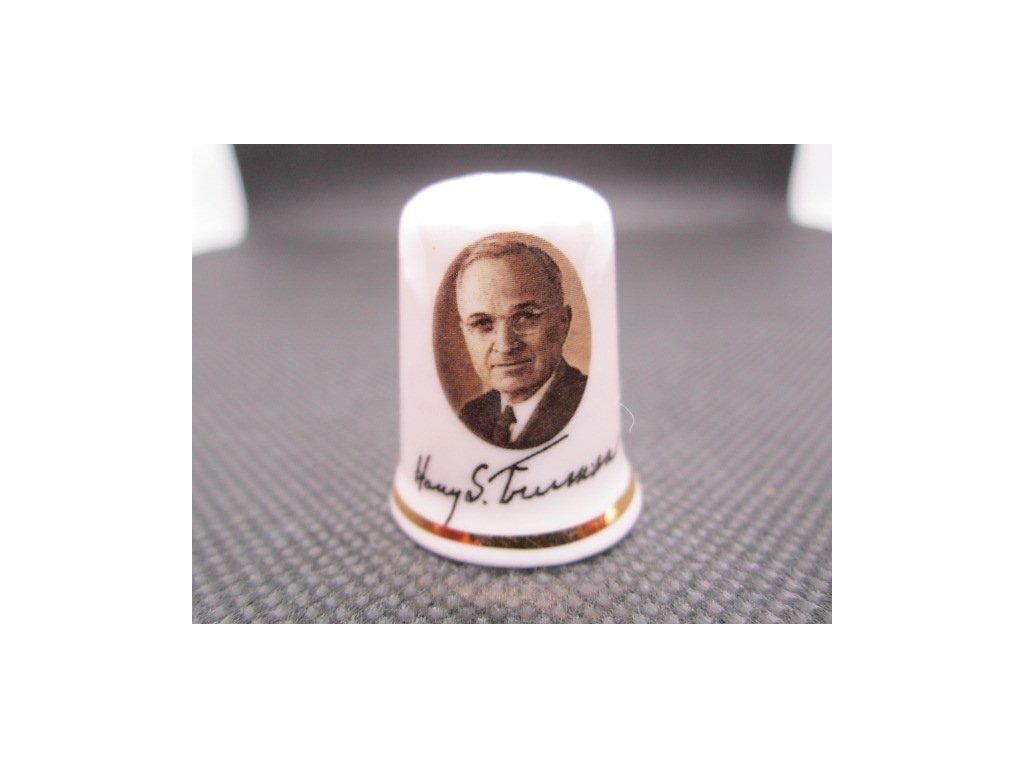 Sběratelský náprstek - USA 33. prezident - Harry S. Truman, s podpisem, Cottage Thimbles
