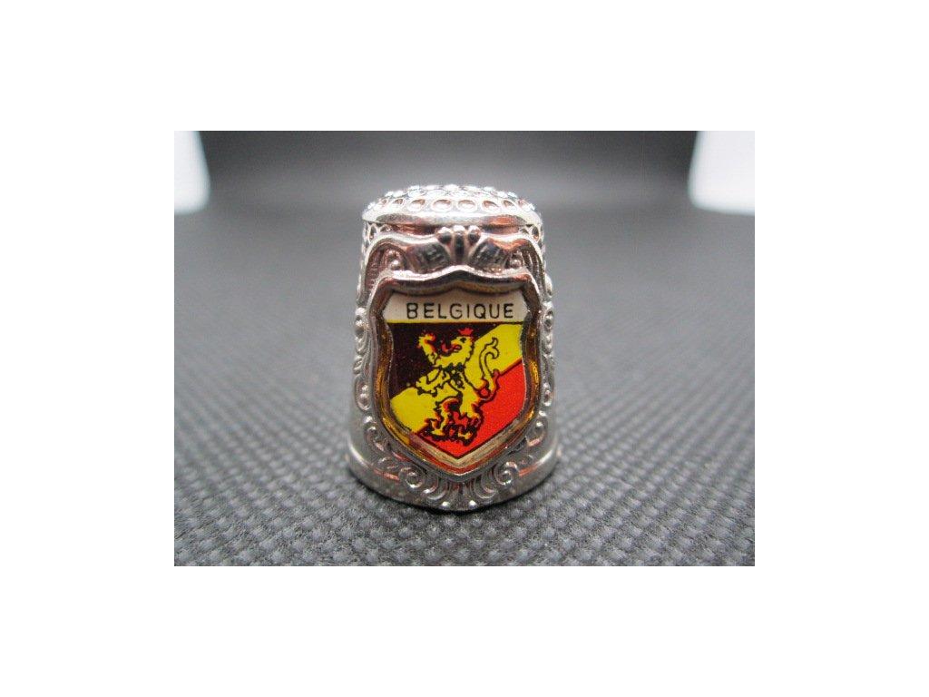 Sběratelský náprstek - 3D Belgie - znak, kovový, zdobený