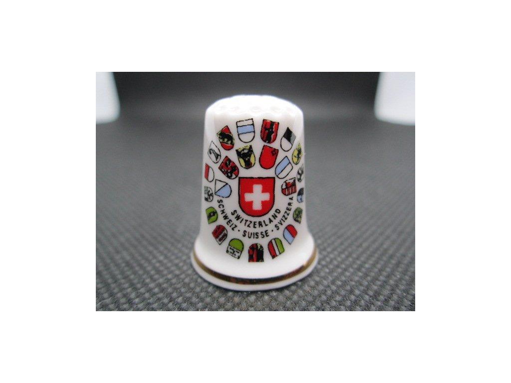 Sběratelský náprstek - Švýcarsko - znak a znaky kantonů